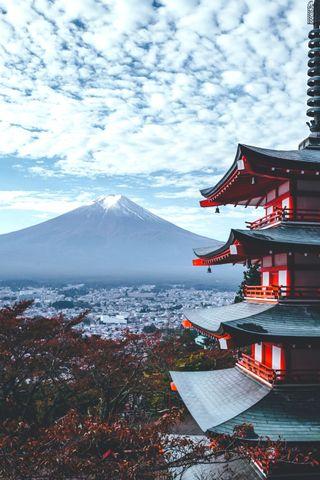 Обои на телефон святыня, архитектура, японские, горы