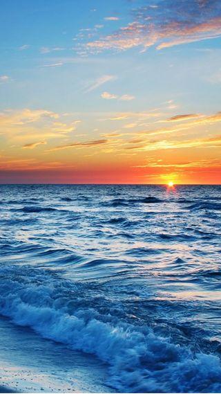 Обои на телефон океан, пляж, закат