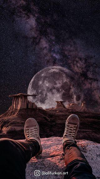 Обои на телефон прогулка, планета, космос, space walk