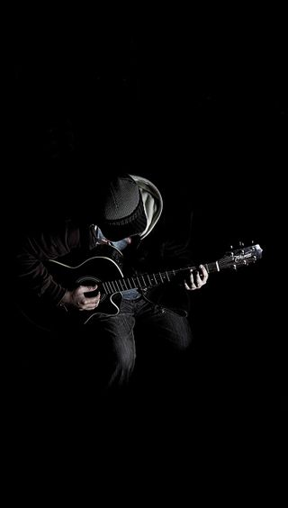 Обои на телефон игрок, гитара, темные