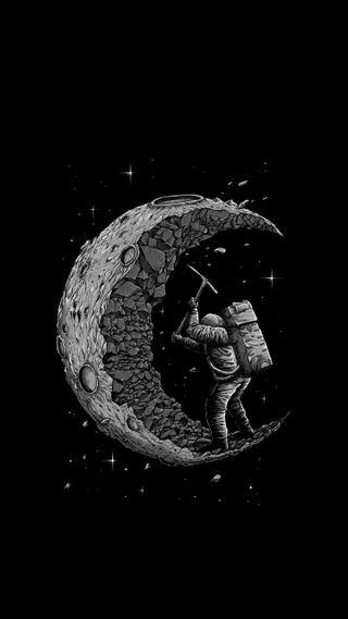 Обои на телефон креативные, черные, луна, moon excavation