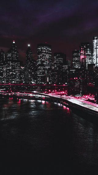 Обои на телефон городские, огни, ночь, новый, зеленые, залив, город, packers