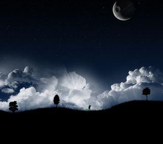 Обои на телефон джедай, темные, синие, рыцарь, облака, ночь, луна, звезда, войны, jedi night 2