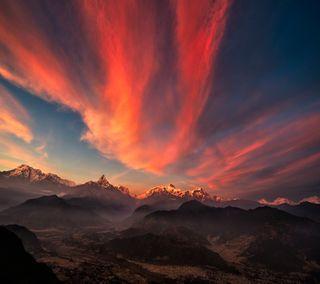 Обои на телефон природа, прекрасные, небо, классные, закат, горы, tibet, land