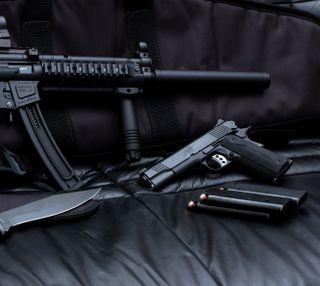 Обои на телефон пистолет, оружие, нож, bullet
