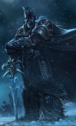 Обои на телефон смерть, снег, мир, меч, игра, война, воин, варкрафт, snow world