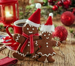 Обои на телефон украшение, счастливое, рождество, время, gingerbread