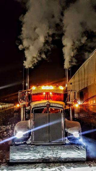 Обои на телефон грузовик, снег, w900l truck, w900l kenworth truck