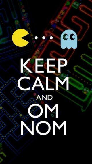 Обои на телефон спокойствие, ретро, ом, забавные, pac man, pac, om nom, man, keep calm, keep