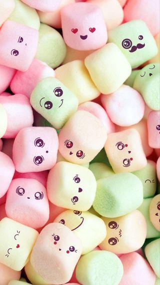 Обои на телефон зефир, смайлики, сладости, розовые, оранжевые, милые, лица, конфеты, зеленые, marshmallows