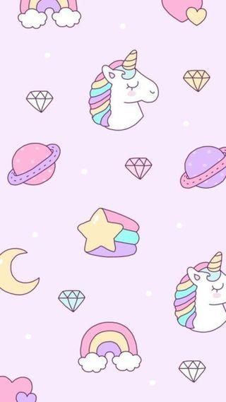 Обои на телефон пастельные, шаблон, цветные, планеты, милые, звезды, единорог, бриллианты