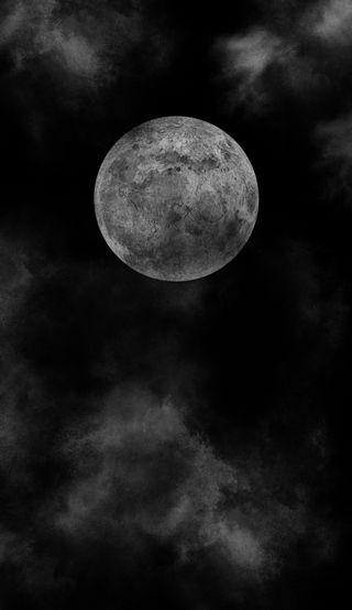 Обои на телефон луна, черные, темные, облака, ночь, dark full moon