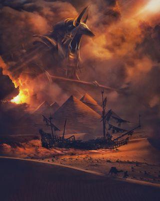 Обои на телефон корабли, свет, пустыня, подъем, пираты, пирамида, песок, закат, бог, mythology, anubis rise, anubis