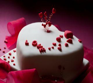 Обои на телефон торт, ты, счастливые, сердце, любовь, день, валентинка, love cake, i love you