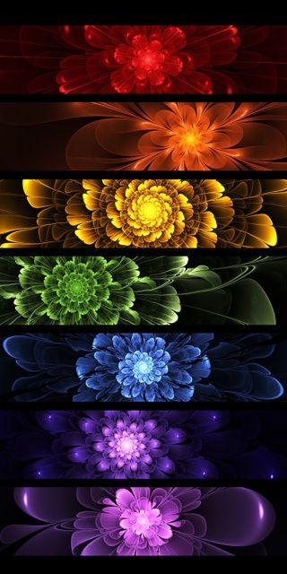 Обои на телефон абстрактные, красочные, цветы, цветные, радуга, фрактал