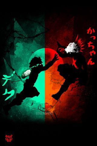 Обои на телефон деку, японские, герой, бой, бакуго, аниме