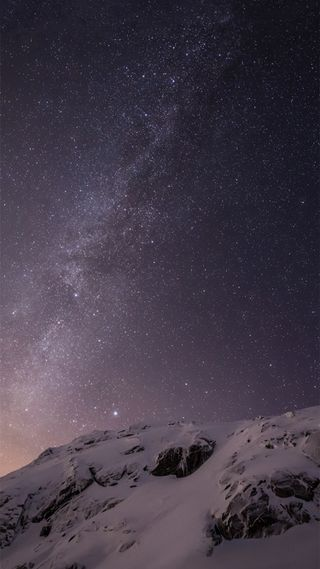 Обои на телефон эпл, снег, ночь, небо, звезда, горы, ios 8, ios, apple
