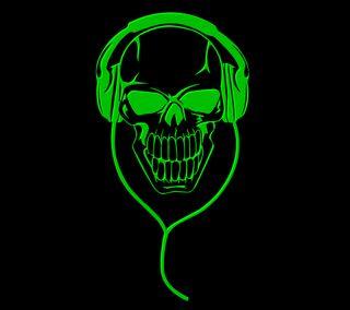 Обои на телефон наушники, череп, зеленые, green skull6