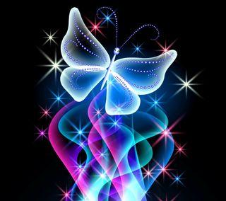 Обои на телефон абстрактные, синие, свет, бабочки, племенные