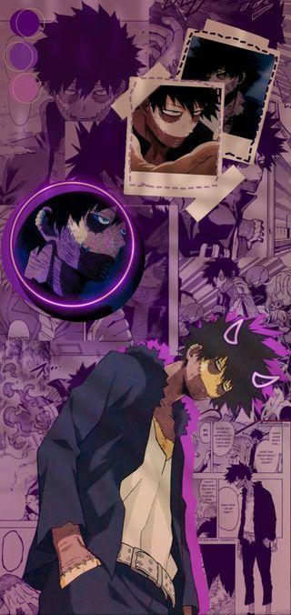 Обои на телефон бнха, эстетические, фиолетовые, герой, боку, аниме, академия, mha, dabi, aesthetic wallpaper