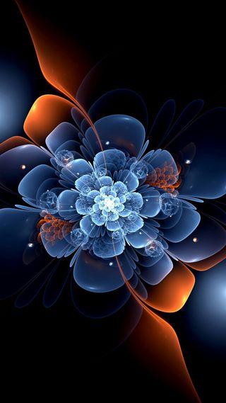 Обои на телефон цветы, неоновые, фрактал
