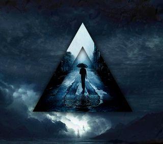 Обои на телефон треугольник, темные, синие, жизнь