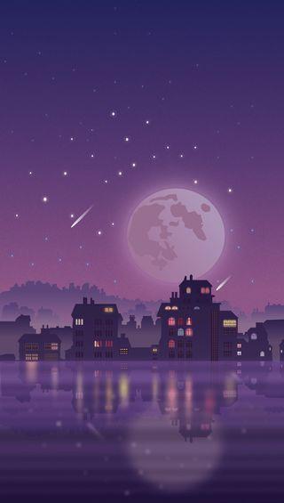 Обои на телефон отражение, ночь, луна, звезды
