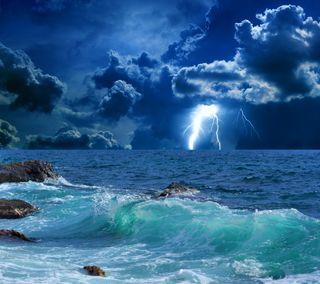 Обои на телефон штормовой, шторм, природа, море, молния, волны, вода, stormy sea