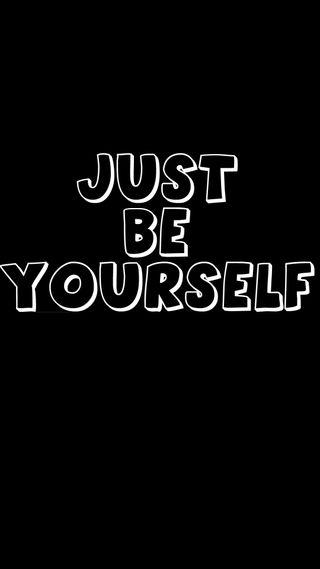 Обои на телефон черные, текст, себя, просто, поговорка, будь, just be yourself