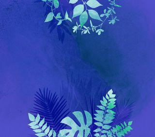 Обои на телефон джунгли, синие, листья, watercolour, blue jungle