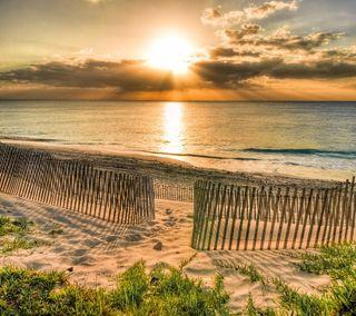 Обои на телефон пляж, море, закат, берег