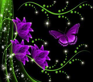 Обои на телефон бабочки, цветы, цветочные, фиолетовые, сверкающие, неоновые, floral by marika