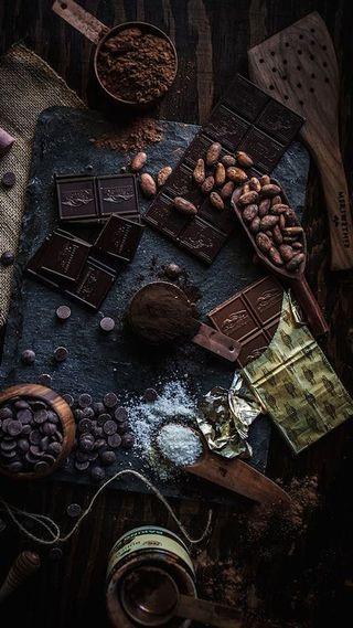 Обои на телефон platter, chocolate style, темные, стиль, еда, шоколад