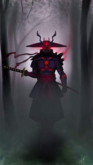 Обои на телефон иллюстрации, самурай, кибер, викинг, векторные, cyber samurai
