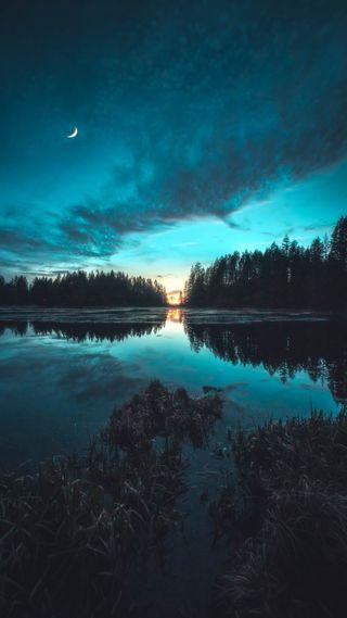 Обои на телефон отлично, цветные, фотография, фото, пейзаж, океан, мечтательные, луна, красочные, картина, звезды, закат, деревья, горы, восход, вода, вайб, артистические, арт, twilit tranquility, picturesque, fine art, environment, art, Zach Doehler, Twilit, Doehler, Calibreus
