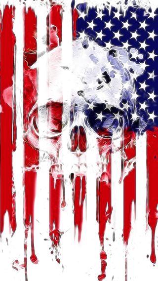 Обои на телефон рисунки, череп, флаг, сша, синие, красые, арт, абстрактные, usa, us skull, art