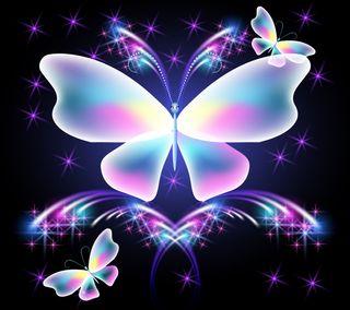 Обои на телефон сверкающие, фон, неоновые, красочные, бабочки, абстрактные