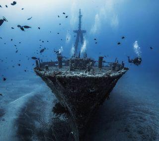 Обои на телефон корабли, море, лодки, wreck, vessel, sunken, ruin, divers, diver