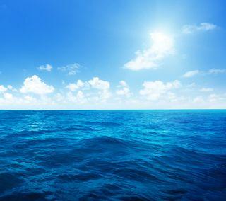 Обои на телефон синие, небо, вода, море, океан, солнечный свет, горизонт