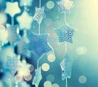 Обои на телефон украшение, синие, рождество, звезды, абстрактные, xmas stars