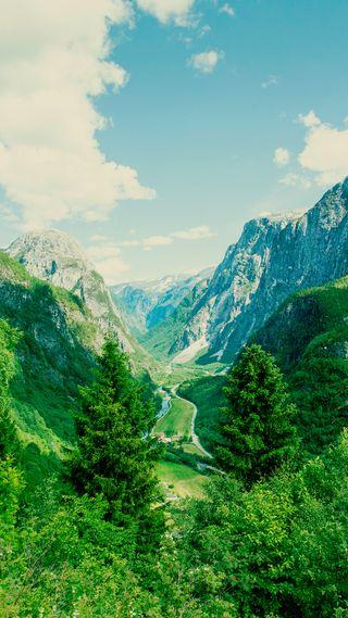 Обои на телефон река, природа, небо, зеленые, долина, lush, hd