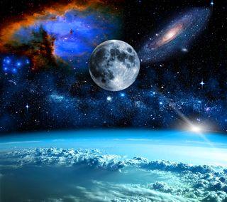 Обои на телефон луна, космос, ночь, галактика, galaxy