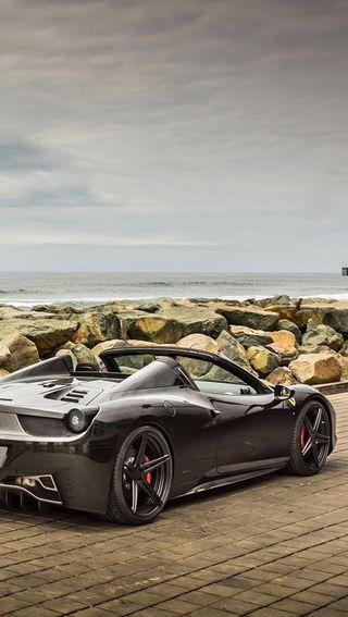 Обои на телефон феррари, тюнинг, пляж, машины, ferrari 458, ferrari