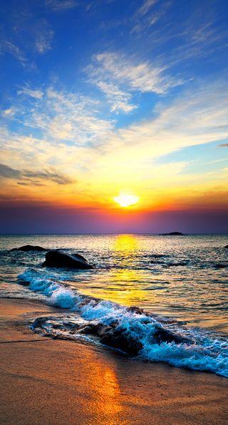 Обои на телефон пляж, синие, пейзаж, небо, закат