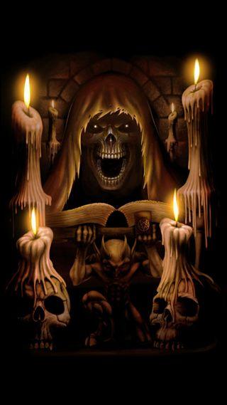 Обои на телефон дьявол, череп, ужасы, темные, страшные, свеча, книга, зубы