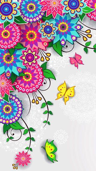 Обои на телефон украшение, цветы, цветочные, красочные, арт, абстрактные, art