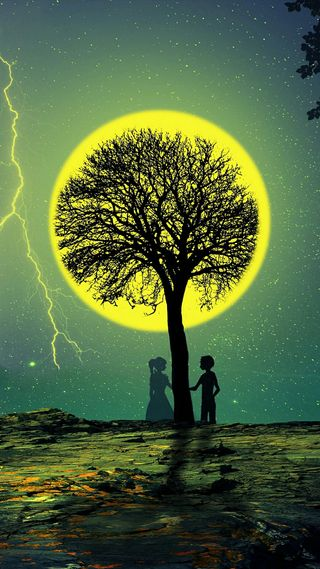 Обои на телефон любовь, луна, luna love, icio
