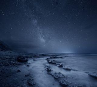 Обои на телефон путь, природа, пляж, пейзаж, океан, ночь, море, млечный, звезды, бесконечность, reflecting infinity