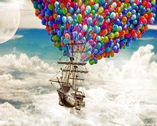 Обои на телефон шары, свобода, облака, луна, космос, корабли, боке, up, schooner