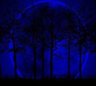 Обои на телефон луна, синие